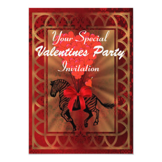 Funny zebra & love heart Valentines party Card