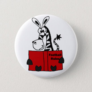Funny Zebra Reading Football Rules Book Pinback Button