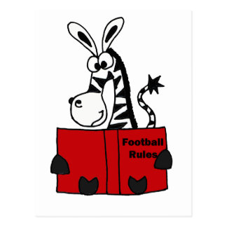 Funny Zebra Reading Football Rules Book Postcard