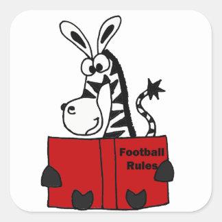 Funny Zebra Reading Football Rules Book Square Sticker