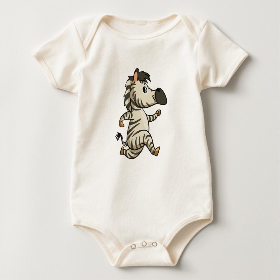Funny zebra running cartoon baby bodysuit - Adorable Baby Bodysuit Designs