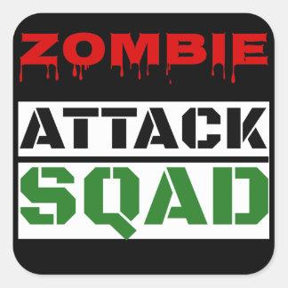 Funny Zombie Attack Squad Square Sticker