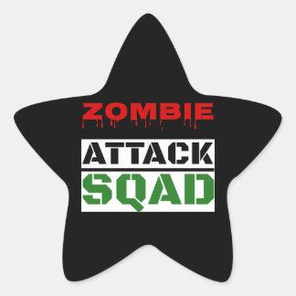Funny Zombie Attack Squad Star Sticker
