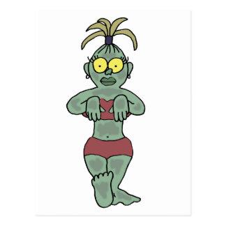 Funny Zombie Babe Cartoon Postcard