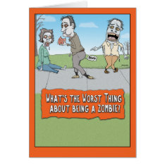 Funny Zombie Brain Farts Halloween Card at Zazzle