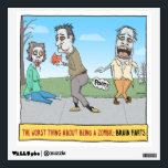 """Funny Zombie Brain Farts Wall Decal<br><div class=""""desc"""">This funny wall decal points out the worst thing about being a zombie,  which is the frequent and embarrassing brain farts. &#169; 2015 Chuck Ingwersen</div>"""