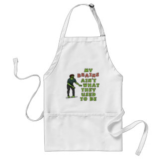Funny Zombie Brains Old Age Adult Apron