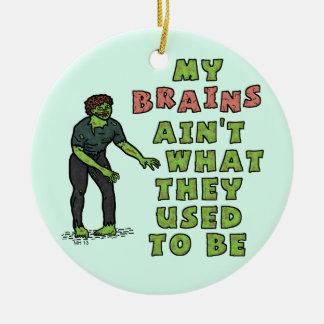 Funny Zombie Brains Old Age Ceramic Ornament