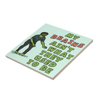 Funny Zombie Brains Old Age Tile