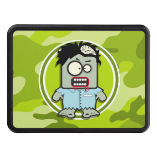 Funny Zombie; bright green camo, camouflage Trailer Hitch Covers