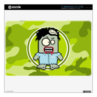 Funny Zombie; bright green camo, camouflage Skins For The MacBook Air