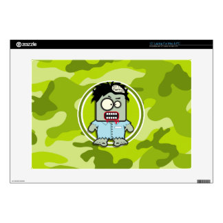 """Funny Zombie; bright green camo, camouflage 15"""" Laptop Skins"""