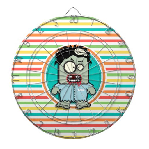 Funny Zombie, Bright Rainbow Stripes Dart Boards