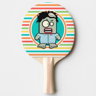 Funny Zombie, Bright Rainbow Stripes Ping Pong Paddle