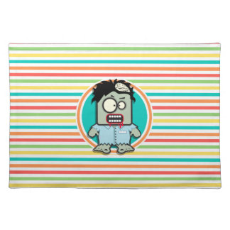 Funny Zombie, Bright Rainbow Stripes Placemats