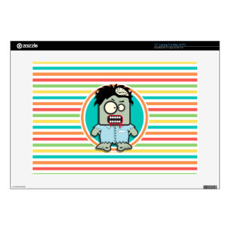 """Funny Zombie, Bright Rainbow Stripes Decal For 15"""" Laptop"""