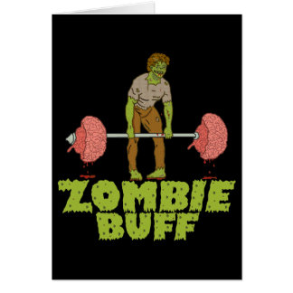 Funny Zombie Buff Weight Lifter Card