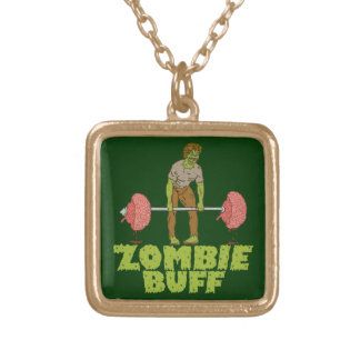 Funny Zombie Buff Weight Lifter Gold Plated Necklace