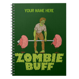 Funny Zombie Buff Weight Lifter Notebook