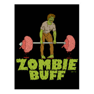 Funny Zombie Buff Weight Lifter Postcard