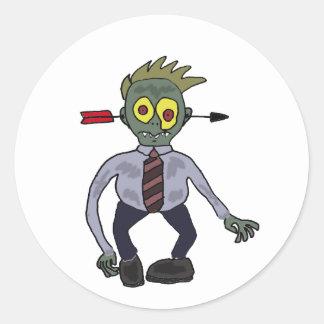 Funny Zombie Businessman Design Classic Round Sticker