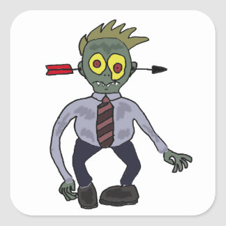 Funny Zombie Businessman Design Square Sticker