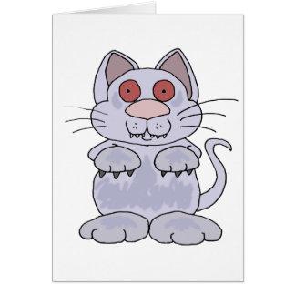 Funny Zombie Cat Cartoon Card