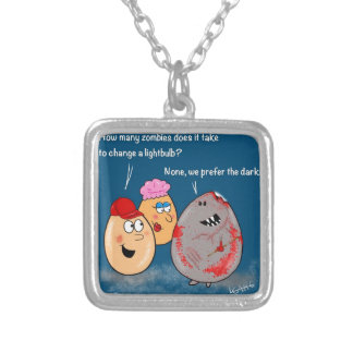 Funny Zombie changing lightbulb cartoon gifts Square Pendant Necklace