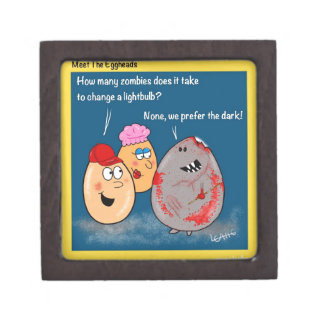 Funny Zombie changing lightbulb cartoon gifts Premium Jewelry Box