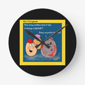 Funny Zombie changing lightbulb cartoon gifts Round Wall Clocks