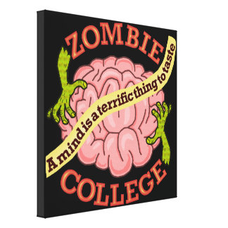 Funny Zombie College Logo Canvas Print