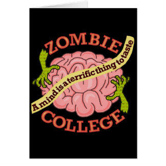 Funny Zombie College Logo Greeting Card