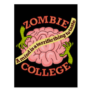 Funny Zombie College Logo Postcard