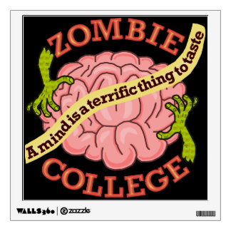 Funny Zombie College Logo Wall Sticker