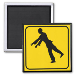 Funny Zombie Crossing Sign 2 Inch Square Magnet