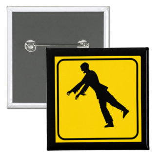 Funny Zombie Crossing Sign 2 Inch Square Button