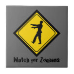 Funny Zombie Crossing Sign Ceramic Tile