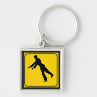 Funny Zombie Crossing Sign Keychain