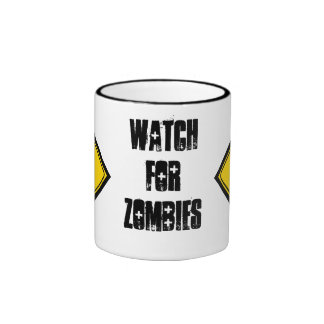Funny Zombie Crossing Sign Coffee Mugs