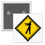 Funny Zombie Crossing Sign Pin