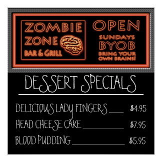 Funny Zombie Dessert Lady Fingers Blood Pudding Poster