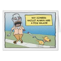 Funny Zombie Dog Walker Happy Birthday Card
