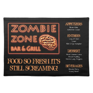 Funny Zombie Food  Fresh Still Screaming Halloween Cloth Placemat