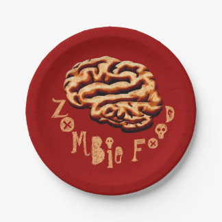 Funny Zombie Food Halloween Party Paper Plate