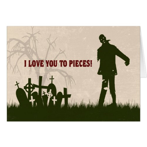 Funny Zombie in Cemetery Valentine's Card