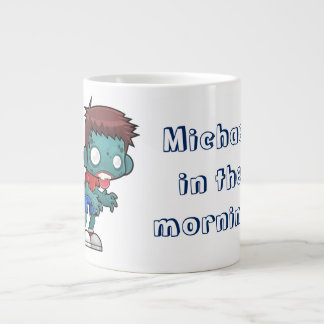 Funny Zombie Man in The Morning Large Coffee Mug