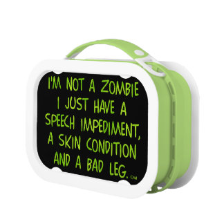 Funny Zombie Not a Zombie Green Yubo Lunchbox