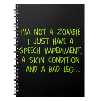 Funny Zombie Not a Zombie Green Spiral Note Books