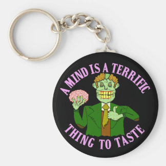 Funny Zombie Professor Proverb Basic Round Button Keychain