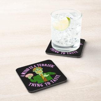 Funny Zombie Professor Proverb Beverage Coasters